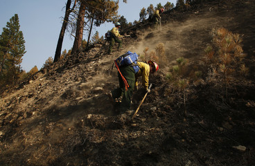 Firefighters from southern Utah work to put out hotspots at the Pony Complex wildfire outside Boise