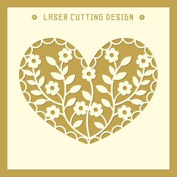 Heart silhouette with flower geometric ornament. Laser cut template pattern for wedding favor box, gift box, invitation, stencil, paper, wood, metal cutting . Vector illustration.