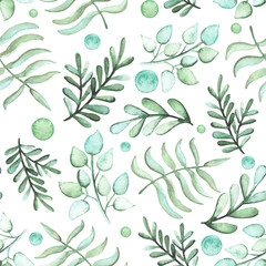 Watercolor Green Leaves And Spots Seamless Pattern