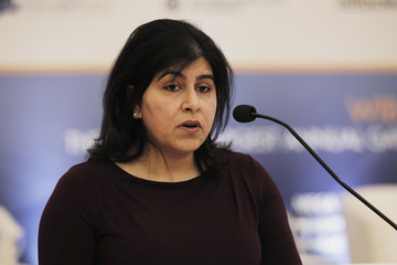 Member of House of Lords in Britain, Baroness Sayeeda Warsi speaks during the World Islamic Banking Conference in Manama
