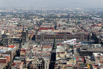 View of the Cathedral and Zocalo in Mexico City