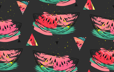 Hand drawn vector abstract collage seamless pattern with watermelon motif and triangle hipster shapes isolated on black background.Unusual decoration for summer time wedding,birthday,save the date
