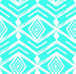 Tiffany blue colored tribal Navajo vector seamless pattern withfreehand texture.Aztec abstract geometric art print. ethnic hipster backdrop. Wallpaper, cloth design, fabric, paper, textile.Hand drawn