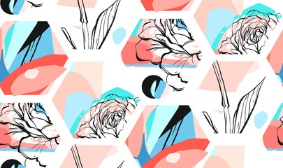 Hand drawn vector artistic universal textured abstract seamless pattern with hexagon shapes,textures and nature floral motifs in pastel colors isolated on white background.