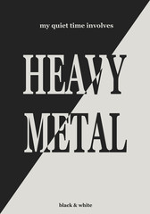 Musical direction. Heavy metal. Vector background. Black and white