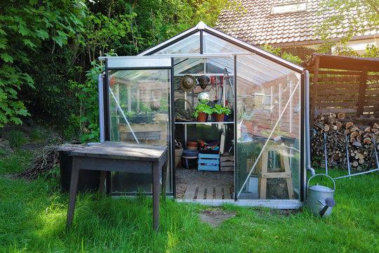 petit serre en kit dans jardin particulier en été