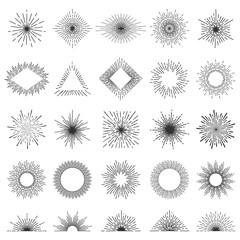 Set of 25 line light rays. Sunburst vector collection