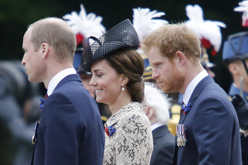 Britain's Prince William, his wife Catherine, the Duchess of Cambridge and Prince Harry attend a ceremony at the Franco-British National Memorial in Thiepval near Albert