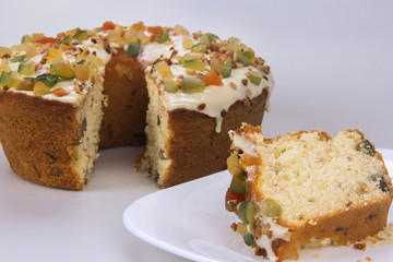 Candied fruit cake. Traditional dessert at parties.