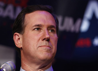 U.S. Republican presidential candidate Rick Santorum addresses his Michigan primary night rally in Grand Rapids