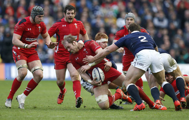 Wales' Alun Wyn Jones takes on Scotland's defence during their Six Nations rugby union match at Murrayfield Stadium in Edinburgh, Scotland