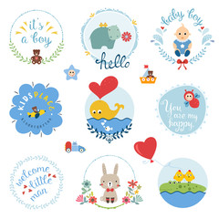 Kids elements, labels, frames, baby boy, flowers, cartoon hippo, whale, cute rabbit, crocodile, chicken, toy airplane, car, sailboat and typographic design.