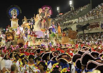 Revellers of the Viradouro samba school participate in the first night of the Carnival parade in Rio de Janeiro's Sambadrome