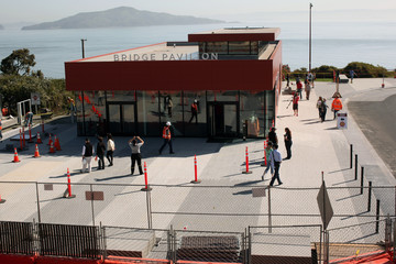 The new Bridge Pavilion, serving as a visitor interpretation center, is pictured on the south end of the Golden Gate Bridge as the iconic landmark is prepared for its 75th anniversary in late May, in San Francisco