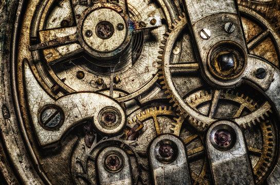 Rustic gear clock mechanism