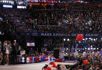 Republican Presidential nominee Donald Trump and his family at the Republican National Convention in Cleveland