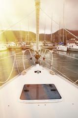 Rostrum of a modern yacht. Port of la Spezia, Italy.