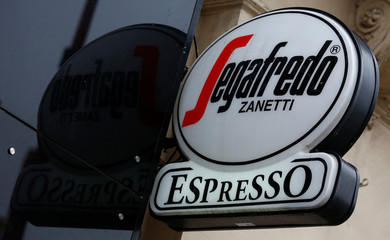 A Segafredo logo is pictured outside a coffee shop in Vienna