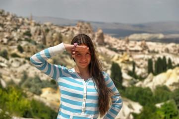 Girl tourist in Cappadocia