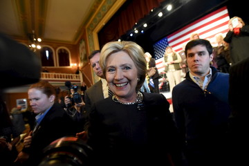 U.S. Democratic presidential candidate Hillary Clinton greets supporters at Rochester Opera House campaign town hall meeting in Rochester