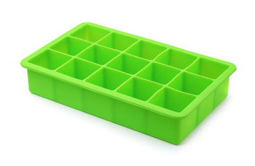 Green silicone ice cube tray
