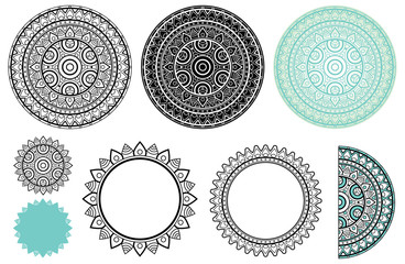 Set elements from mandala. Vector mandala collection in black and turquoise colors. For your creative and coloring book.