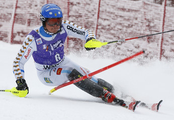 Hargin of Sweden competes during first run of men's Alpine Skiing World Cup slalom in Wengen