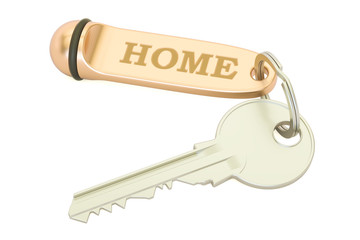 Home key with keychain, 3D rendering