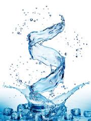 Water splash in the form of spiral blue color