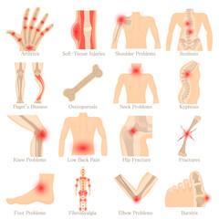 Orthopedic diseases icons set, cartoon style