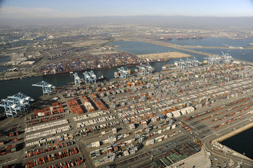 Ships gather off the port at Long Beach, California in this aerial image