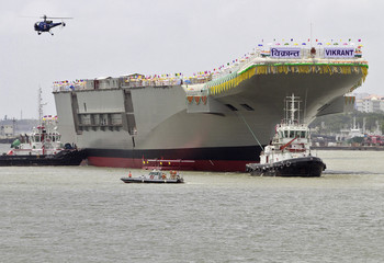 "India's Indigenous Aircraft Carrier P-71 ""Vikrant"", built for the Indian Navy, leaves Cochin Shipyard after its launch in the southern Indian city of Kochi"