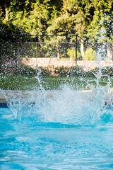 Pure water splashing in the pool