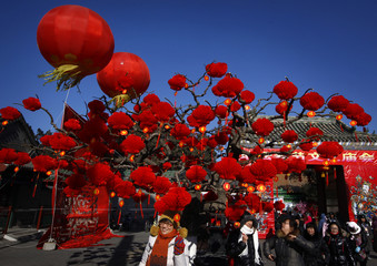 A woman poses for a photograph next to a tree with red lanterns at an entrance to the temple fair in Ditan Park