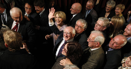 Labour Party candidate Higgins celebrates in Dublin
