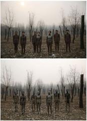 """Combination picture shows models posing before and after they are painted in camouflage colours to blend in with the background for Chinese artist Liu Bolin's artwork """"Dongji"""", or Winter Solstice, in Beijing"""
