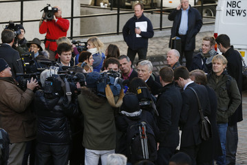 Former motor-racing boss Max Mosley talks to the press after the release of Lord Justice Brian Leveson report on media practices, in central London