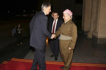 Iraqi Kurdish regional President Masoud Barzani welcomes British Foreign Secretary Philip Hammond in Arbil