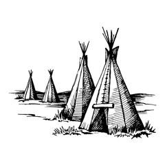 Native American wigwam, hand drawn engraving imitation