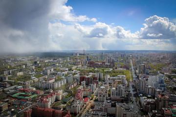 Панорама Екатеринбурга с небоскреба Высоцкий, Россия