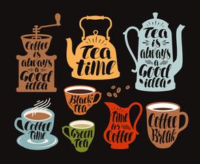 Hot drinks, tea, coffee label set. Collection decorative elements for menu restaurant or cafe. Lettering, calligraphy vector illustration