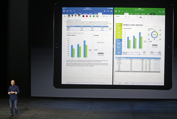 Kirk Koenigsbauer speaks about Microsoft Office for iPad Pro during an Apple media event in San Francisco, California