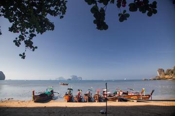 KRABI, Thailand - February 3, 2014: Traditional longtail boats on Railay beach, Thailand