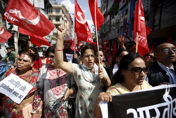 Demonstrators affiliated with various political parties take part in the anti-India protest in Kathmandu