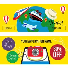 travel banner yellow background