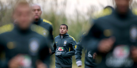 Brazilian Lucas attends a training session in Los Cardales