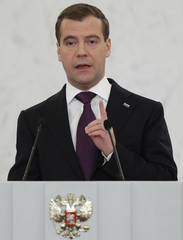 Russia's President Medvedev makes his annual state of the nation address at the Kremlin's St. George Hall in Moscow