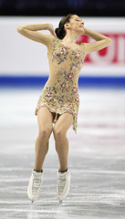 Polina Korobeynikova of Russia performs during her women's short programme at the European Figure Skating Championships at the Motorpoint Arena in Sheffield