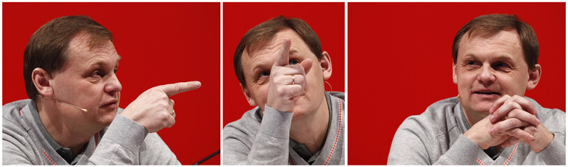 A combination picture shows Puma CEO Gulden gesturing during the company's annual news conference in Herzogenaurach