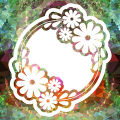Color mosaic round frame with decorative flowers.Vector clip art.